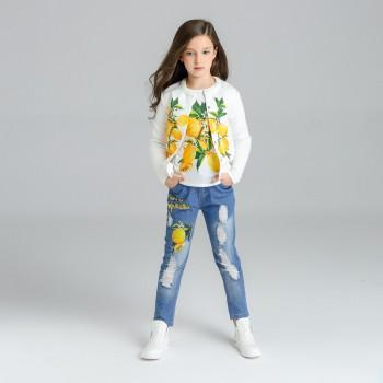 3-piece Lemon Print Tee, Coat and Rip Denim Pants for Girl