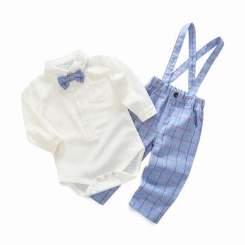 Graceful Shirt Bodysuit and Plaid Strap Pants Set for Baby Boy