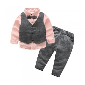 3-piece Cool Bow Tie Shirt and Vest and Pants Set for Boy