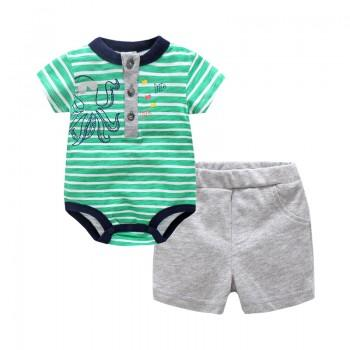 Comfy Striped Octopus Print Bodysuit and Shorts Set for Baby Boy