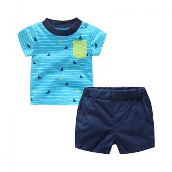 2-piece Fun Shark Print Stripes T-shirt and Solid Shorts Set for Baby Boy