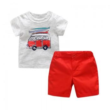 Lovely Car Print Short Sleeve T-shirt and Shorts Set for Baby Boy