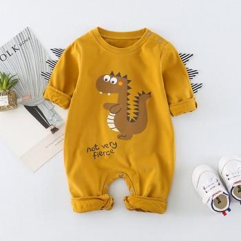 Lovely Dino Print Long-sleeve Cotton Jumpsuit for Baby