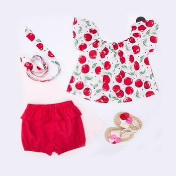 3-piece Apple Pattern Flutter Sleeves Top Headband and Red Shorts for Baby Girl