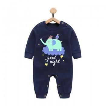 Cute Singing Elephant and Bird Navy Long-sleeve Jumpsuit for Baby