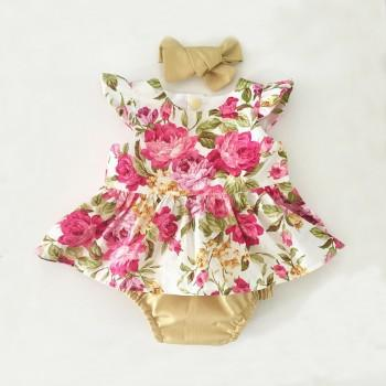 Gorgeous Sleeveless Floral Bodysuit with Headband for Baby Girl