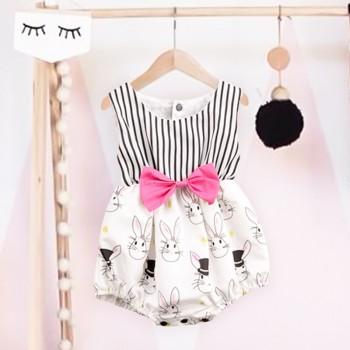 Cute Rabbit Print Bow Decor Striped Bodysuit for Baby Girl