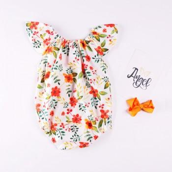 Lovely Floral Pattern Short-sleeve Bodysuit for Baby Girl