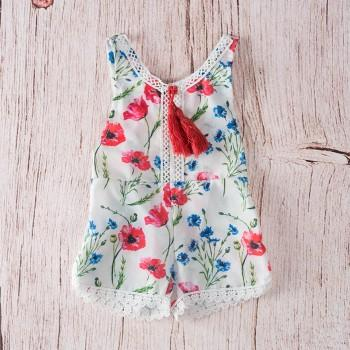 Baby Girl's Chic Lace Trimmed Sleeveless Tassel Floral Jumpuit