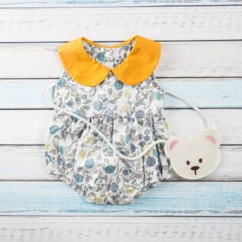 Pretty Doll Collar Floral Sleeveless Bodysuit for Baby Girl