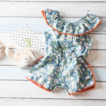 Pretty Floral Pompon Design Short-sleeve Jumpsuit for Baby Girl