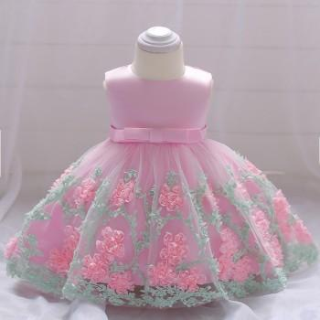Baby Gir's 3D Floral Applique Sleeveless Tulle Party Dress