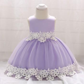 Baby Girl's Cute Lace Flower Trimmed Sleeveless Tulle Party Dress
