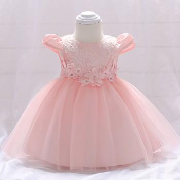 Baby Girl's Chic 3D Flower Decor Cap-sleeve Party Dress