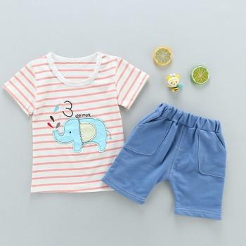 2-piece Elephant Applique Striped Short Sleeves Tee and Pants for Baby Boy