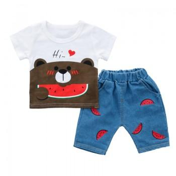 2-piece Watermelon Bear Print Short-sleeve Tee and Pants Set for Toddler Boy