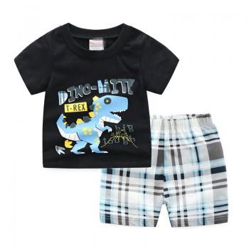 Handsome Dino Print Tee and Plaid Shorts Sets for Toddler Boys