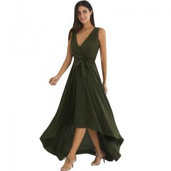 Sexy Deep V Sleeveless Green Dress for Women