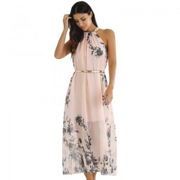 Charming Floral Halter Mesh Dress with Belt for Women