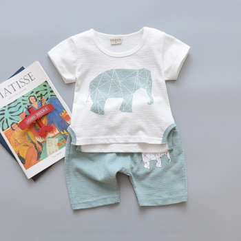 2-piece Geo Elephant Print T-shirt and Shorts for Baby