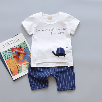 2-piece Lovely Turtle Letter T-shirt and Stripes Shorts for Baby