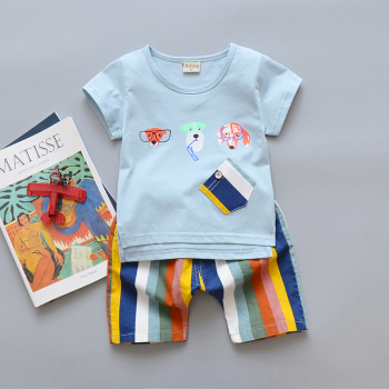 2-piece Fun Glasses Dog Print T-shirt and Stripes Shorts for Baby