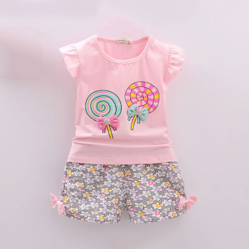 Lovely Floral Lollipop Print Bow Decor Ruffled Cap-sleeve T-shirt and Shorts Set for Baby Girl