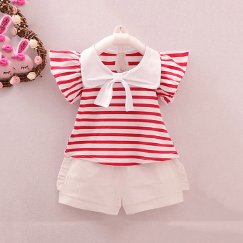 2-piece Trendy Flutter Sleeves Striped Top and White Shorts for Baby Girl