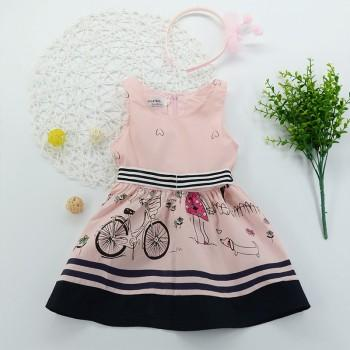 Cute Flower Print Stripe Waist Sleeveless Dress for Baby and Toddler Girls