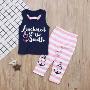 Pretty Bow Decor Sleeveless Top and Striped Pants Set for Baby Girl