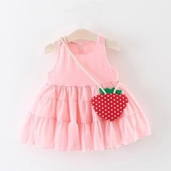 Baby Girl's Lovely Ruffled Dress with a Strawberry Bag