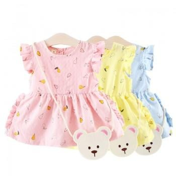 Fashionable Pear Print Sleeveless Dress with a Bag for Baby Girl