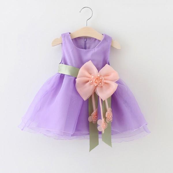 Beautiful Belted Flower Detail Dress for Baby Girl