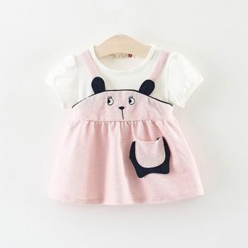 Cute Embroidered Cat Faux 2-piece Dress for Baby Girl