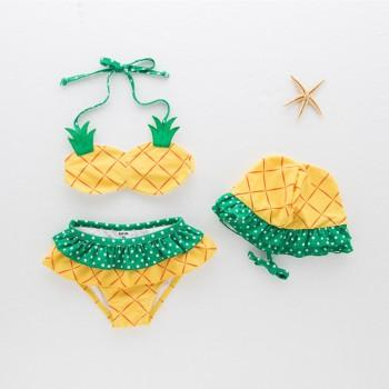 3-piece Lovely Pineapple Design Bikini and Hat Set in Yellow for Baby and Toddler Girl