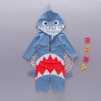 Cool Shark Design Hooded Long-sleeve Swim Jumpsuit in Blue for Toddler Boy and Boy