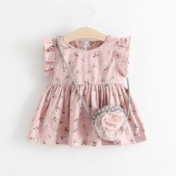 Pretty Floral Ruffled Sleeveless Dress and Bag Set for Baby Girl