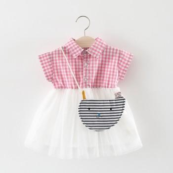 2-piece Cute Plaid Sleeveless Tulle Dress with Cat Bag for Toddler Girl