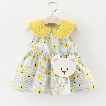 2-piece Cute Daisy Pattern Peter Pan Collar Sleeveless Dress with Bag for Toddler Girl