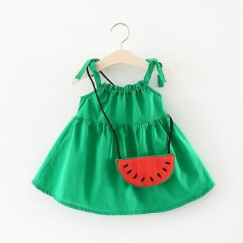 Cute Solid Strap Dress with Watermelon Bag