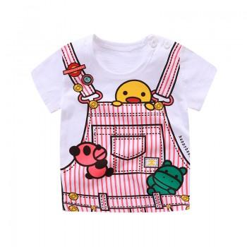 Cute 3D Print Short Sleeves Tee for Baby