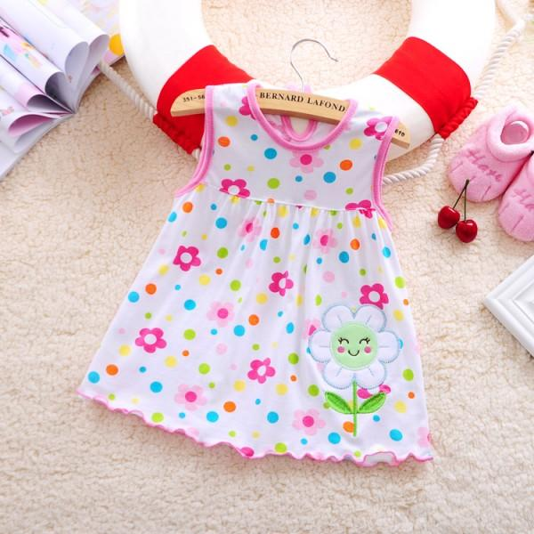 Happy Appliqued Sleeveless Dress for Baby Girl