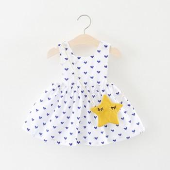Pretty Heart Pattern Sleeveless Strap Dress and Bag Sets for Baby Girls