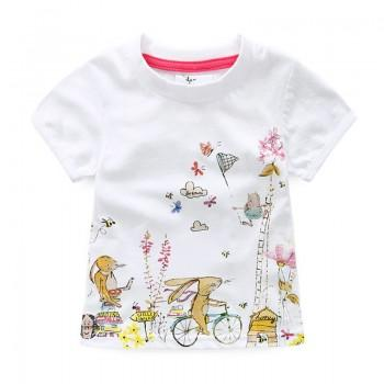 Playful Rabbits Cotton Short Sleeve T-shirt in White for Toddler Girls and Girls