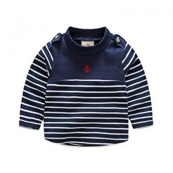 Fresh Striped Embroidered Sweatshirt for Boy