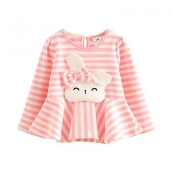 Lovely Bow Rabbit Applique Stripes Ruffle Top for Girls