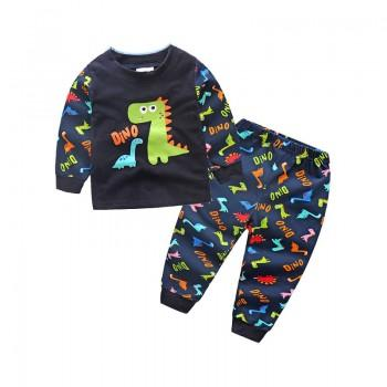 2-piece Cute DINO Print Long Sleeves Top and Pants for Boys