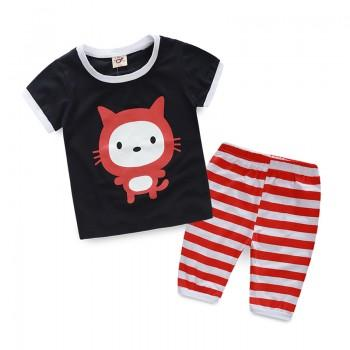Cute Cat Print Short-sleeve T-shirt and Pants Set for Boy
