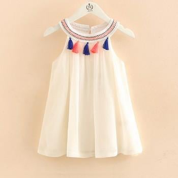 Trendy Solid Tassel Dress for Toddler Girl and Girl