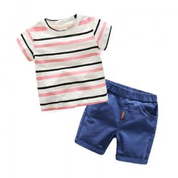 Comfy 2-piece Striped Top and Blue Shorts Set for Toddler Boy and Boy